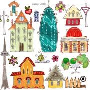 Link toElements of cartoon city building vector 03