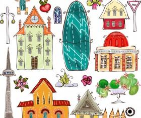 Elements of Cartoon city building vector 03