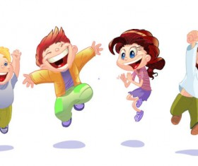 Set of Cute cartoon little Child vector 01