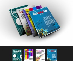 Abstract magazine cover design elements vector 01