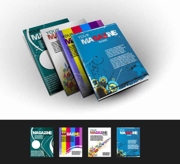 Abstract magazine cover design elements vector 01 – Over millions