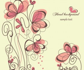 Hand painted of Romantic floral background vector 01