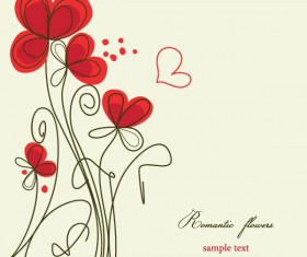 Hand painted of Romantic floral background vector 03