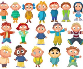 Set of Cute cartoon little Child vector 03