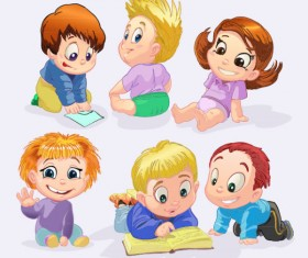 Set of Cute cartoon little Child vector 04