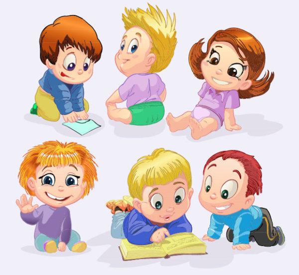 Girl Cartoon Vector Free Download Set of Cute Cartoon Little