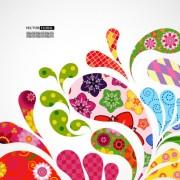 Link toColorful floral elements background art vector 01