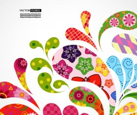 Colorful Floral elements background art vector 01