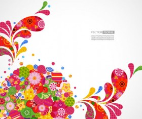 Colorful Floral elements background art vector 03