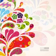 Link toColorful floral elements background art vector 04