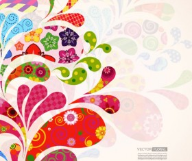 Colorful Floral elements background art vector 04