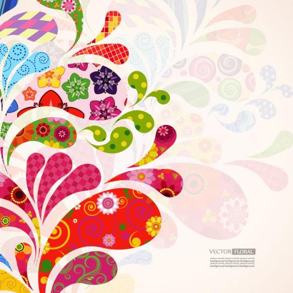 Colorful Floral elements background art vector 04