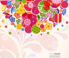 Colorful Floral elements background art vector 05
