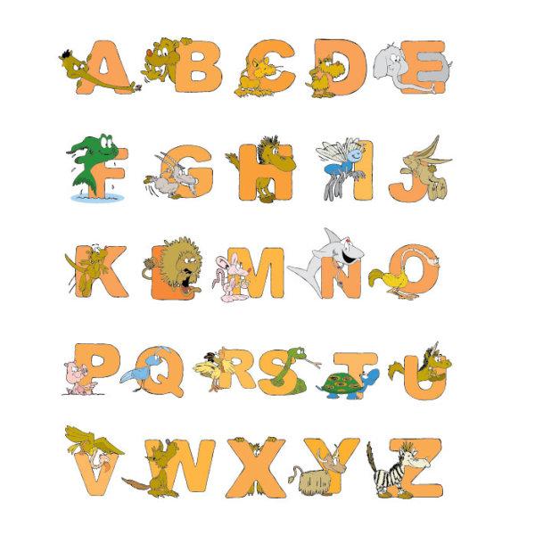 Cartoon Animals And Alphabet Vector Free Download