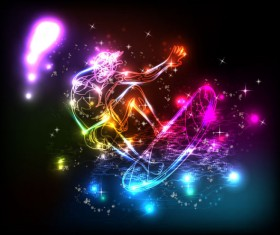neon and people Illustrations vector 05