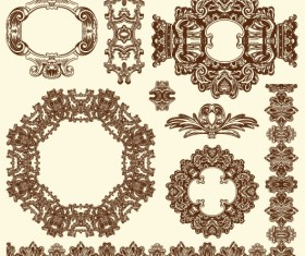 Set Vintage of Retro borders vector art 06