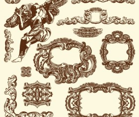 Set Vintage of Retro borders vector art 10