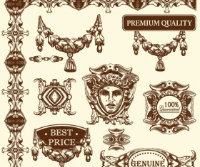 Set Vintage of Retro borders vector art 11