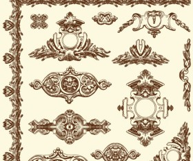 Set Vintage of Retro borders vector art 12
