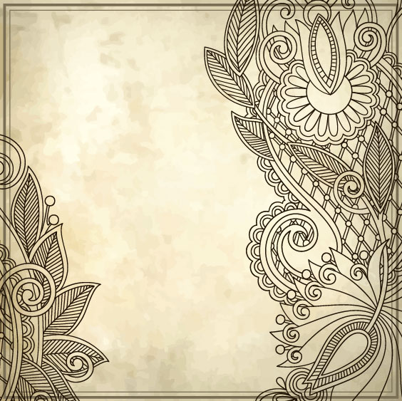 Elements of Vintage Floral Borders art vector 01