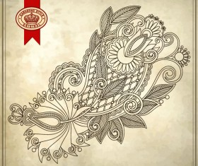 Elements of Vintage Floral Borders art vector 04