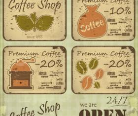 Vintage of Retro Coffee elements cards vector 02