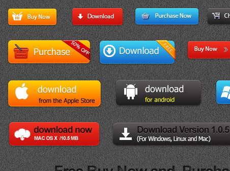 Set of Buy Now and Download Buttons - Buttons PSD File ...
