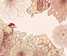 leaves and birds vector Background set 02