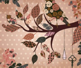 leaves and birds vector Background set 03