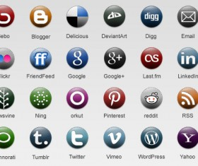 Different Round Dots Social Icons