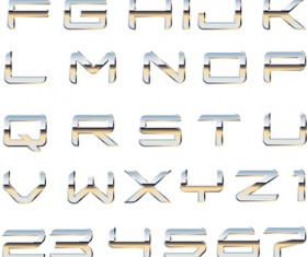 Set of Metal Style Alphabet vector art