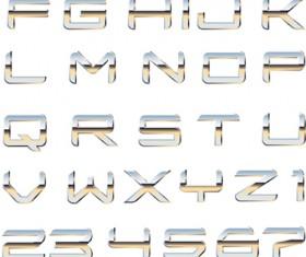 Set of Metal Style Alphabet vector art