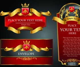 luxurious Black and gold labels vector 01