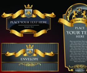 luxurious Black and gold labels vector 02