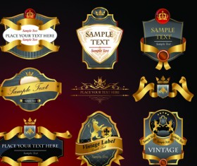 luxurious Black and gold labels vector 04