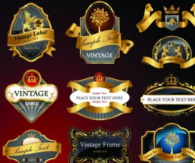 luxurious Black and gold labels vector 05