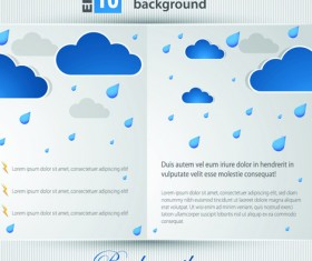 Set of Brochure page two weather background vector 02