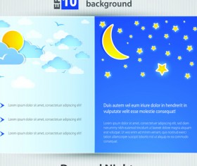 Set of Brochure page two weather background vector 03