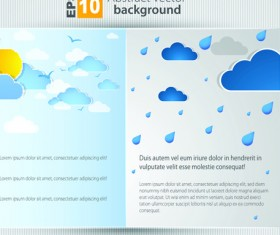 Set of Brochure page two weather background vector 04
