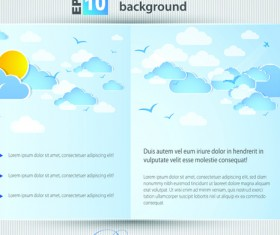 Set of Brochure page two weather background vector 05
