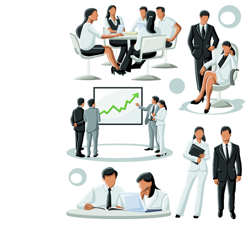 Various Business People vector set 01
