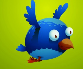Set of Cartoon funny bird vector 01