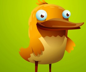 Set of Cartoon funny bird vector 02