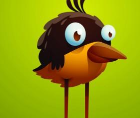 Set of Cartoon funny bird vector 03