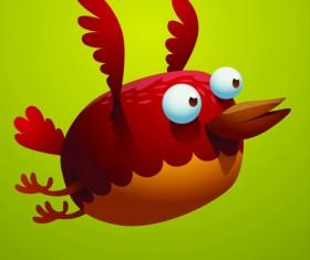 Set of Cartoon funny bird vector 04