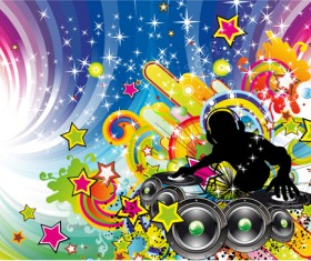 Music elements Disco dance vector 04