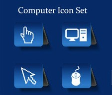 Different computer icon vector set