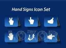 Different Hand Signs icon vector set