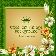 Link toSet of frame with flowers luxurious vector background 01