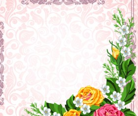 Set of Frame with flowers luxurious vector background 02